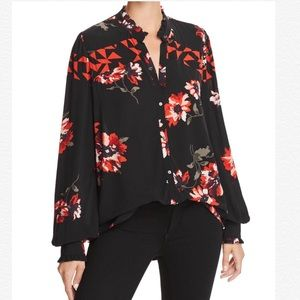JOIE Romia Floral Print Like Silk Sheer Blouse